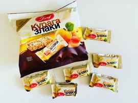 Конфеты на подложке из  шоколадной  глазури. 240 гр. Курага и злаки