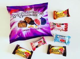Конфеты в шоколадной глазури. 240 грамм Фруктовый грильяж с инжиром